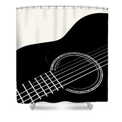 Shower Curtain featuring the digital art Guitar, Black And White,  by Jana Russon