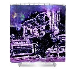 Shower Curtain featuring the photograph Guitar Blues by Susan Kinney