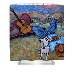 Guitar Doggy And Me In Wine Country Shower Curtain