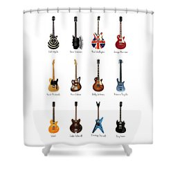 Guitar Icons No2 Shower Curtain by Mark Rogan