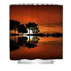 Guitar Landscape At Sunset Shower Curtain