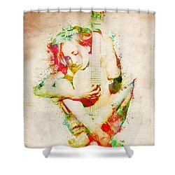Guitar Lovers Embrace Shower Curtain