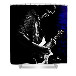 Guitar Man In Blue Shower Curtain by Meirion Matthias