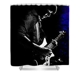 Guitar Man In Blue Shower Curtain by Meirion Matthias
