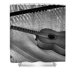 Guitar Monochrome Shower Curtain by Jim Walls PhotoArtist