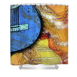 Shower Curtain featuring the painting Guitar Music by Allison Ashton