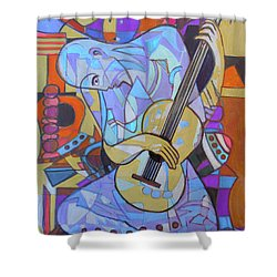 Shower Curtain featuring the painting Guitar-six Strings by Denise Weaver Ross