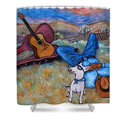 Shower Curtain featuring the painting Guitar Doggy And Me In Wine Country by Xueling Zou
