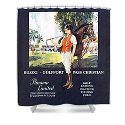 Gulf Coast - Illinois Central - Vintage Poster Restored Shower Curtain