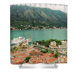 Gulf Of Kotor With Cruise Liner Shower Curtain