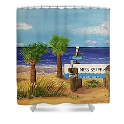 Gulf Shore Welcome Shower Curtain