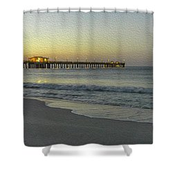 Shower Curtain featuring the painting Gulf Shores Alabama Fishing Pier Digital Painting A82518 by Mas Art Studio