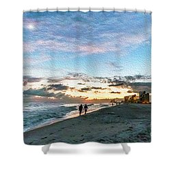 Gulf Shores Beach Sunset Seascape 0272a Digital Painting Shower Curtain