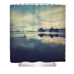 Gull At Huntington Beach Pier Shower Curtain