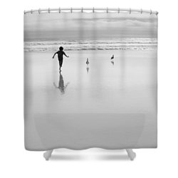Shower Curtain featuring the photograph Gull Chasing 101 by Lora Lee Chapman