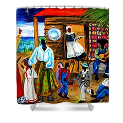 Shower Curtain featuring the painting Gullah Christmas by Diane Britton Dunham