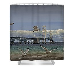 Gulls Flying By The Bridge At The Straits Of Mackinac Shower Curtain by Randall Nyhof