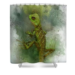 Gumpy Lizard Shower Curtain by Kathy Russell