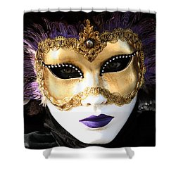 Gunilla Maria's Purple Feathers Shower Curtain by Donna Corless