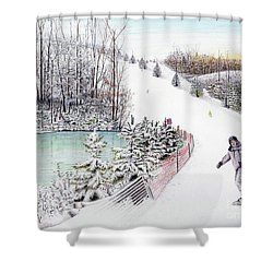 Gunnar Slope And The Ducky Pond Shower Curtain by Albert Puskaric