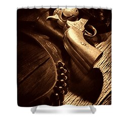 Gunslinger Tool Shower Curtain by American West Legend By Olivier Le Queinec