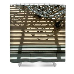 Gurneys Under A Pergola Through A Picture Window Shower Curtain by Stan  Magnan