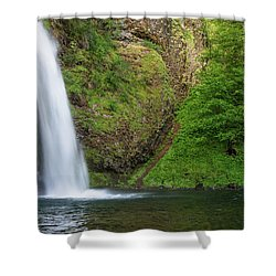 Shower Curtain featuring the photograph Gushing Horsetail Falls by Greg Nyquist