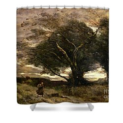 Gust Of Wind Shower Curtain by Jean Baptiste Camille Corot