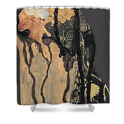 Shower Curtain featuring the painting Gustav Klimt's Tears by Maya Manolova