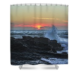 Gwithian Beach Sunset  Shower Curtain