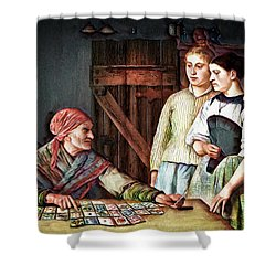 Shower Curtain featuring the digital art Gypsy Card Reader by Pennie McCracken
