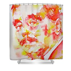Shower Curtain featuring the painting H. G. Wells - Watercolor Portrait by Fabrizio Cassetta