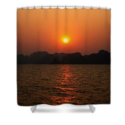 Ha Long Bay Sunset 2 Shower Curtain by Oliver Johnston