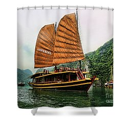 Ha Long Vessel Brown  Shower Curtain