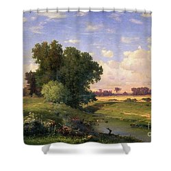 Hackensack Meadows - Sunset Shower Curtain by George Snr Inness