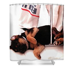 Had A Ruff Day Shower Curtain by Patricia L Davidson