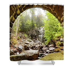 Shower Curtain featuring the photograph Hadlock Falls Under Carriage Road Arch by Jeff Folger