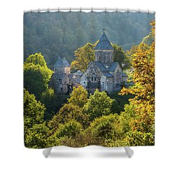 Haghartsin Monastery With Trees In Front At Autumn, Armenia Shower Curtain