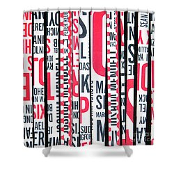 Shower Curtain featuring the mixed media Haiku In Red And Black by Elena Nosyreva