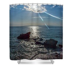 Haitian Beach In The Late Afternoon Shower Curtain