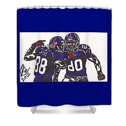 Shower Curtain featuring the drawing Hakeem Nicks And Victor Cruz by Jeremiah Colley