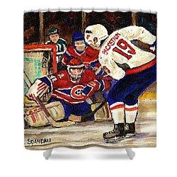 Halak Blocks Backstrom In Stanley Cup Playoffs 2010 Shower Curtain by Carole Spandau