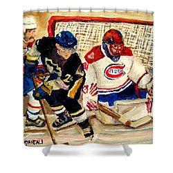 Halak Catches The Puck Stanley Cup Playoffs 2010 Shower Curtain by Carole Spandau