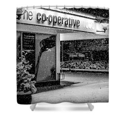 Hale Barns Co-op In The Snow Shower Curtain