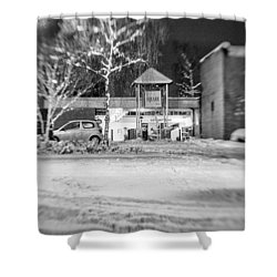 Hale Barns Square In The Snow Shower Curtain