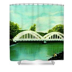 Haleiwa Bridge North Shore Oahu Hawaii #95 Shower Curtain by Donald k Hall