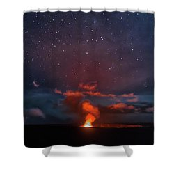 Shower Curtain featuring the photograph Halemaumau Crater At Night by Susan Rissi Tregoning
