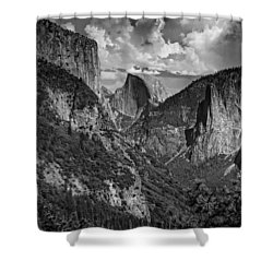 Half Dome And El Capitan In Black And White Shower Curtain by Rick Berk