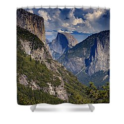 Half Dome And El Capitan Shower Curtain by Rick Berk