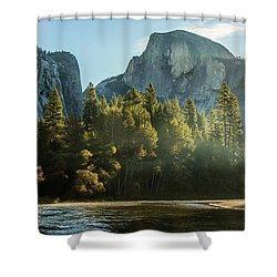 Half Dome And Merced River Autumn Sunrise Shower Curtain